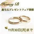 【Hone B】の結婚指輪を成約すると指輪の内側に誕生石プレゼント!